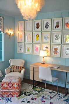 """Cool way to display art work. Could do in kids room or in the hallway. Another """"masterpiece wall"""" idea."""