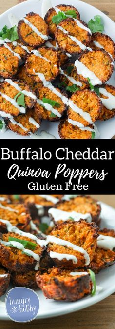 Buffalo Cheddar Quinoa Poppers with a cheesy spicy kick! Perfect appetizer for the next football party or for an energizing delicious snack! via @hungryhobby