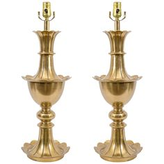 """1stdibs.com   Pair of Mid Century Brass """"Petal"""" Form Table Lamps"""