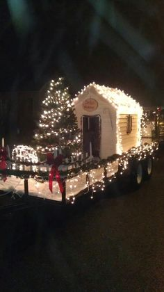 Christmas parade float with lights