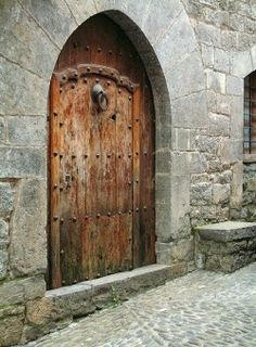 medievalvisions:  Door in the medieval town of Ainsa, Spain.