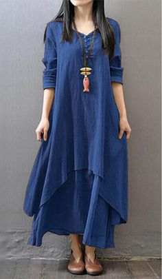 Long Sleeve Navy Blue V Neck Maxi Dress, casual, dressy, cool, cheap price and faster shipping at rosewe.com, shop now.