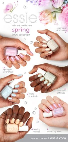 essie's limited edition spring 2020 collection is a range of six pastel nail polish shades salon quality formula for flawless coverage from the Essie collection, which has produced more than shades and counting. Pastel Nail Polish, Essie Nail Polish, Cute Acrylic Nails, Pastel Nails, Cute Nails, Pretty Nails, Glitter Nails, Gel Polish, Diy Nails