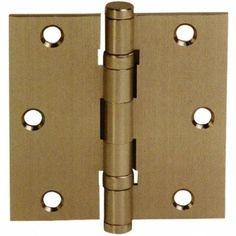 "Emtek 96413 3.5"" x 3.5"" Solid Brass Square Corner Ball Bearing Mortise Hinge - P, Brown copper"