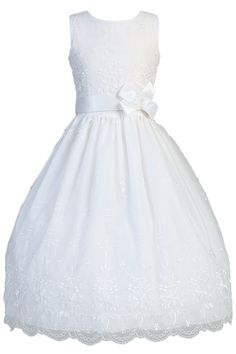 Floral Embroidered White Organza & Satin Trim First Holy Communion Dress ( Girls Sizes 6 to 12 - 8X to 12X )