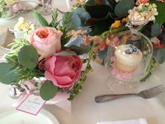 A Bella Beautiful Charleston Bridesmaid's Luncheon! Tea Cup Party Favors and Personal Cupcake Domes make any guest feel special! Design by Bella Baxter Special Events, Flowers by Tanarah Luxe Floral