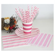 Wholesale Pink and White Striped Straw