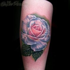 Beautiful rose tattoo best ink amazing flower art bodyart by Australian artist Liz Venom from bombshell tattoo in Edmonton Alberta Canada