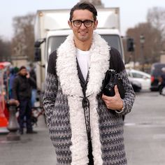Simone Marchetti in Paris wearing a Missoni coat. Photo by fabrizzioma