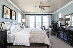 master bedroom. light blue, white and black = relaxing. #kellerhomes | WefollowPics