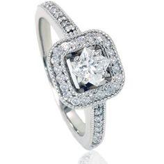 .80CT Princess Cut Diamond Engagement Ring 14K White Gold Vintage Style 4-9 | Jet.com