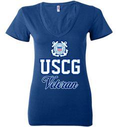 USCG Coast Guard Veteran Women's Deep V-Neck T-Shirt