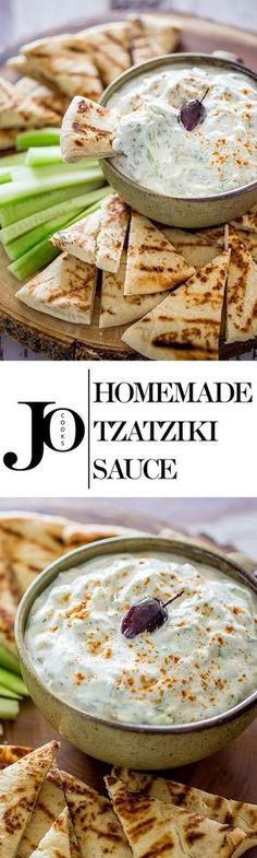 Homemade Tzatziki Sauce - a refreshing and cool sauce made with yogurt, cucumber and dill, perfect for dipping, on gyros or an easy snack!