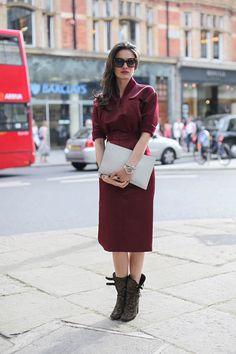 "Leila Yavari in the Jil Sander ""Promise"" dress, Laurence Dacade studded booties, Céline sunglasses and a Jil Sander clutch."
