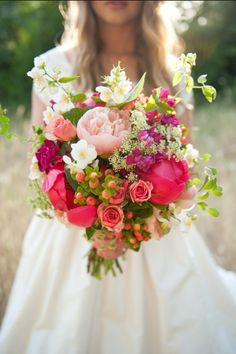 Too much bright pink but love the bouquet. Peonies, roses, wildflowers berries - the perfect Spring wedding bouquet! Bouquet Bride, Pink Bouquet, Bridal Bouquets, Bouquet Wedding, Boquet, Bouquet Flowers, Rustic Bouquet, Summer Wedding Bouquets, Wedding Summer