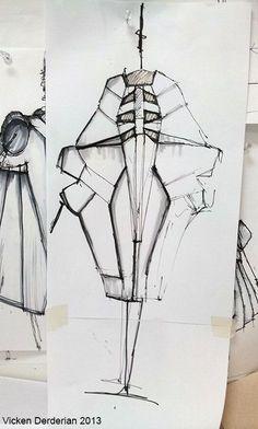 Fashion Sketchbook fashion design sketches; sculptural dress drawings // Vicken Derderian