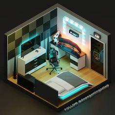 Gamer Bedroom, Bedroom Setup, Best Gaming Setup, Gaming Room Setup, Desk Setup, Computer Gaming Room, Gaming Rooms, Small Game Rooms, Gaming Furniture