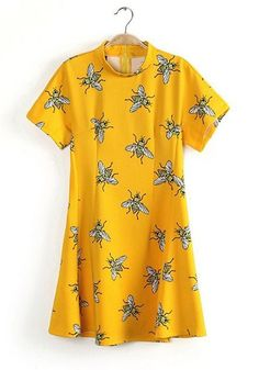 Yellow Bee Print Falbala Band Collar Chiffon Dress