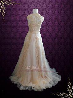 Blush Whimsical Beach Lace Wedding Dress | Korynne