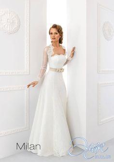 Cвадебное платье Милан: а-силуэт, романтический стиль, длинное платье, с овальным вырезом, с непышной юбкой, без шлейфа, модель до 2016 года, без рукавов, платье, подходит высоким, полностью кружевное платье, пояс, основная ткань: кружево
