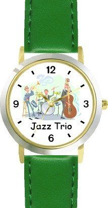 Jazz Trio No.2 Jazz Musician - WATCHBUDDY® DELUXE TWO-TONE THEME WATCH - Arabic Numbers - Blue Leather Strap-Size-Children's Size-Small ( Boy's Size & Girl's Size ) WatchBuddy. $49.95