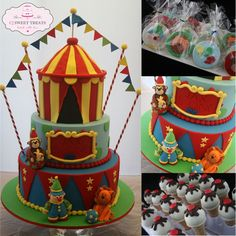 What a lucky boy Jax is! Celebrating his first birthday today with circus style!! The cake was choc mud, white choc mud and red velvet along with vanilla been cookies and ice cream cone cake pops. (Based on original cake design by HeathersCakes - picture provided by client)