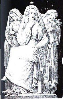 """""""Frigga"""" (1832) from Die Helden und Götter des Nordens, oder Das Buch der sagen. From Wikipedia http://en.wikipedia.org/wiki/Frigg"""