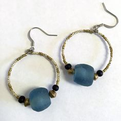 Recycled Glass Hoop Earrings by RisingVillage on Etsy