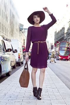 Ella Catliff - Massimo Dutti Dress, Massimo Dutti Hat, Massimo Dutti Tote, Massimo Dutti Boots - Pretty in Plum