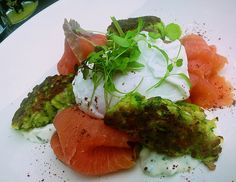 Zucchini fritters with smoked salmon, poached egg and tzatziki at Speakeasy