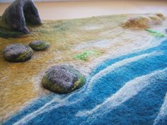 Felted Play Mat The Beach with a Cave by bonnieNguize on Etsy