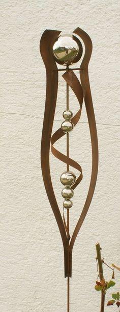 Gartendeko rost skulptur 120 cm mit edelstahlkugel garten for Rostfiguren weihnachten