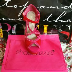 Shoedazzle Red Studded Heel Size 7 Never worn. Comes with shoe bag. Box available upon request. Shoe Dazzle Shoes Heels