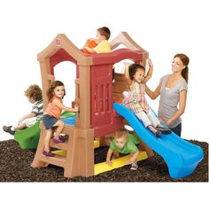 Step2 Play Up Double Slide Climber Playset with Two Slides, Multicolor