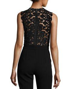 TDFG1 Rebecca Taylor Crepe Sleeveless Lace-Back Jumpsuit, Black
