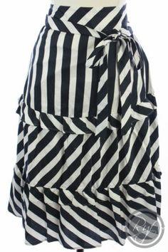 Ann Taylor Loft Navy Blue White Nautical Striped Tiered Ruffle Dress Skirt s 4 | eBay