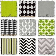 Crib bedding in Gray Black and Green by LavenderLinens on Etsy, $215.00