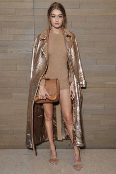 Gigi Hadid upping her bronze goddess status at a Max Mara event at Milan Fashion Week. Shades of camel, brown and tan = one-colour dressing nailed