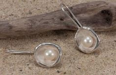 sterling silver round  pearl earrings by NyamiJewelry on Etsy, $140.00