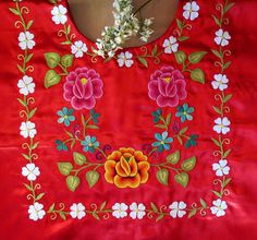 Textiles, Tree Skirts, Baby Dress, Hand Embroidery, Floral Tops, Christmas Tree, Traditional, Holiday Decor, Painting