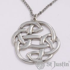 Pewter Lugh's Knot Pendant by St Justin. Pewter openwork Celtic knot on tin-plated or surgical steel curb chain. Product code: PN33. Price: £13.33. Available: www.stjustin.co.uk - All St Justin products are manufactured here in the United Kingdom.