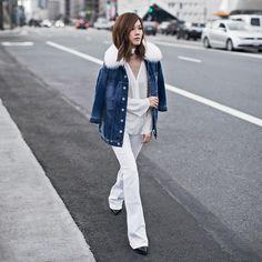 Fur collar denim jacket~ Love the clean white with blue denim!