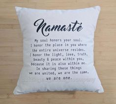 Namasté Definition Cotton Canvas Natural Throw Pillow Approximately 14x14  MATERIAL - Pillow cover is 100% natural cotton canvas with specks in it, giving it a rustic feel. It has an envelope enclosure for easy removal for cleaning. The insert IS included and is made of 100%