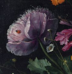 Jacob van Walscappelle - Flowers in a Glass Vase  Detail