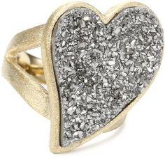 "ANDARA ""Glitter Rock"" 18K Gold Plated Asymmetrical Heart Silver Drusy Ring!!"