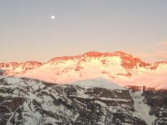 Moon and sunset at Valle Nevado, Chile