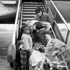 FRANCE, 1956: Josephine Baker Children greets her at the airport after returning from a world tour.