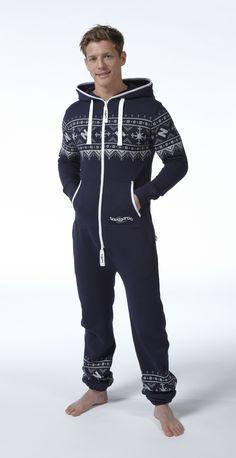 Snuggaroo Men's Navy Blue Nordic Onesie OnePiece One Piece Jumpsuit
