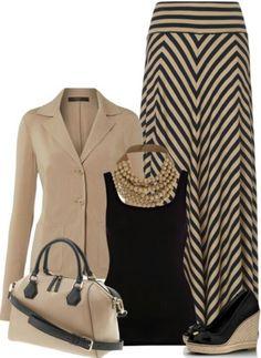Tan/black striped maxi skirt