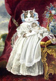 猫咪大玩复古风,英国艺术家Susan Herbert 油画作品欣赏